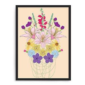 Quadro Decorativo 33x43cm Nerderia e Lojaria flores preto