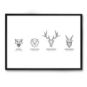 Quadro Decorativo 33x43cm Nerderia e Lojaria game of thrones houses preto