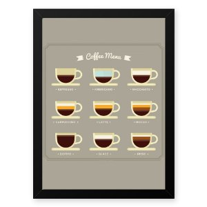 Quadro Decorativo 33x43cm Nerderia e Lojaria graos cafe menu preto