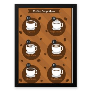 Quadro Decorativo 33x43cm Nerderia e Lojaria graos cafe shop menu preto