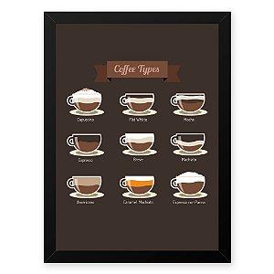 Quadro Decorativo 33x43cm Nerderia e Lojaria graos cafe tipos preto