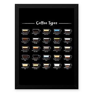 Quadro Decorativo 33x43cm Nerderia e Lojaria grãos tipo cafe preto