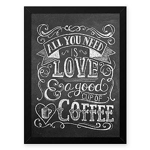 Quadro Decorativo 33x43cm Nerderia e Lojaria lousa love and coffee preto