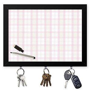 Quadro Recado Porta Chaves (Com Caneta Especial) 23x33cm Nerderia e Lojaria textura rosa preto