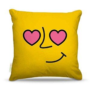 Almofada 45 x 45cm  Nerderia e Lojaria amarelo apaixonado colorido