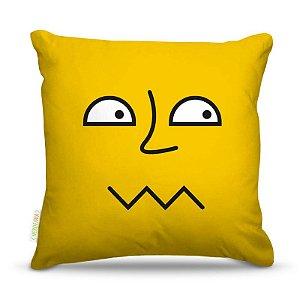 Almofada 45 x 45cm  Nerderia e Lojaria amarelo desconfiado colorido