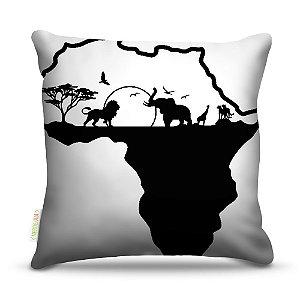 Almofada 45 x 45cm  Nerderia e Lojaria animais africa colorido