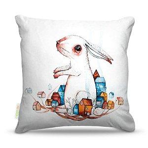 Almofada 45 x 45cm  Nerderia e Lojaria coelho surreal colorido
