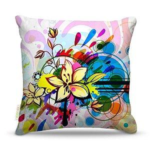 Almofada 45 x 45cm  Nerderia e Lojaria flor paint colorido