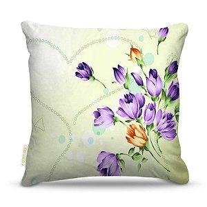 Almofada 45 x 45cm  Nerderia e Lojaria flor purple colorido