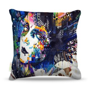 Almofada 45 x 45cm  Nerderia e Lojaria mulher surreal azul colorido