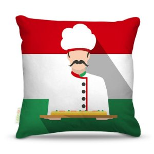 Almofada 45 x 45cm  Nerderia e Lojaria italian pizza colorido
