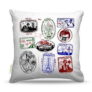 Almofada 45 x 45cm  Nerderia e Lojaria selos cidades colorido
