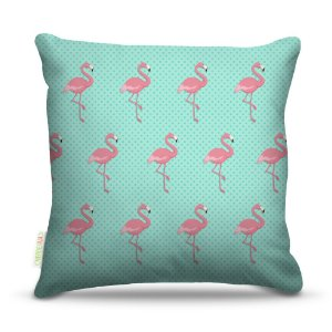 Almofada 45 x 45cm  Nerderia e Lojaria textura flamingo colorido