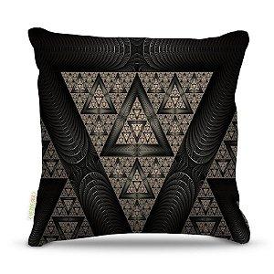 Almofada 45 x 45cm  Nerderia e Lojaria triangulos surreal negro colorido