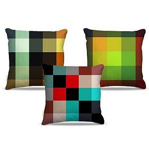 Combo de almofadas 45 x 45 cm (3und.) Nerderia e Lojaria geométrica 02 colorido