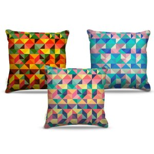 Combo de almofadas 45 x 45 cm (3und.) Nerderia e Lojaria geométrica 06 colorido