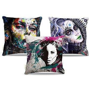 Combo de almofadas 45 x 45 cm (3und.) Nerderia e Lojaria mulher surreal colorido