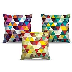 Combo de almofadas 45 x 45 cm (3und.) Nerderia e Lojaria triangles colorido