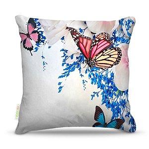 Almofada 40 x 40cm Nerderia e Lojaria 3 borboletas colorido