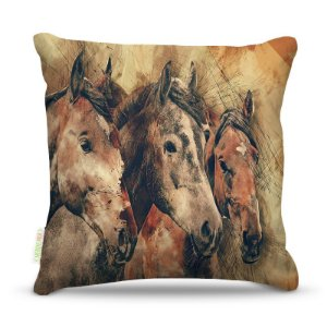 Almofada 40 x 40cm Nerderia e Lojaria 3 cavalos colorido