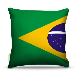 Almofada 40 x 40cm Nerderia e Lojaria bandeira brasil1 colorido