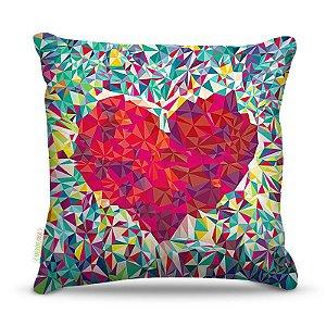 Almofada 40 x 40cm Nerderia e Lojaria coração colors colorido