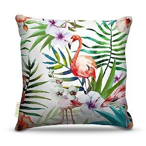 Almofada 40 x 40cm Nerderia e Lojaria flamingo com flores colorido