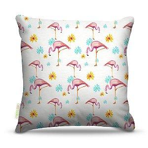Almofada 40 x 40cm Nerderia e Lojaria flamingo textura colorido