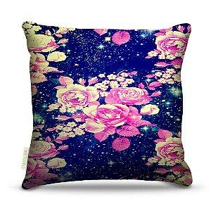 Almofada 40 x 40cm Nerderia e Lojaria floral space colorido