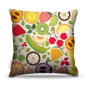 Almofada 40 x 40cm Nerderia e Lojaria frutas coloridas colorido
