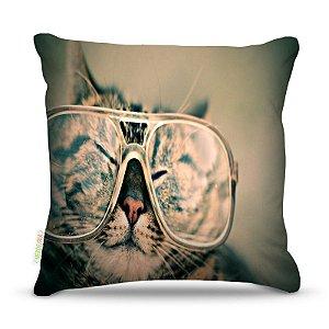 Almofada 40 x 40cm Nerderia e Lojaria gato glass colorido