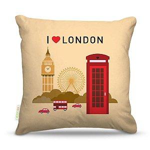 Almofada 40 x 40cm Nerderia e Lojaria i love london colorido