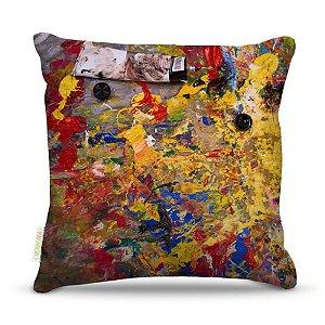 Almofada 40 x 40cm Nerderia e Lojaria paint abstrato mistura colorido