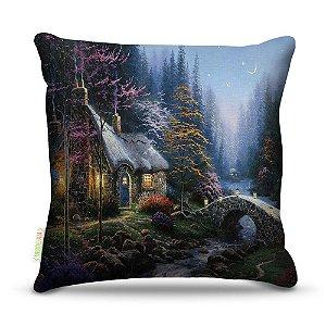 Almofada 40 x 40cm Nerderia e Lojaria paisagem cabana colorido