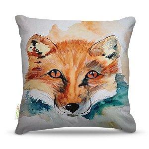 Almofada 40 x 40cm Nerderia e Lojaria raposa aquarela colorido