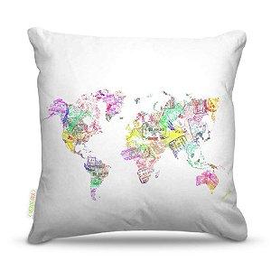 Almofada 40 x 40cm Nerderia e Lojaria selos mundo colorido