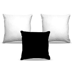Combo de almofadas 40 x 40 cm (3und.) Nerderia e Lojaria cores bramco e preto colorido