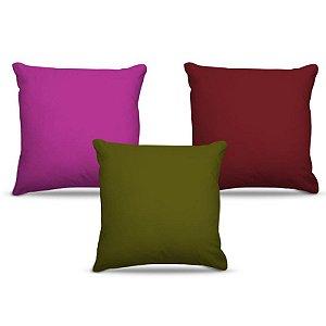 Combo de almofadas 40 x 40 cm (3und.) Nerderia e Lojaria cores neutras colorido