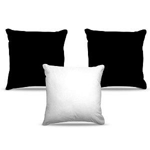 Combo de almofadas 40 x 40 cm (3und.) Nerderia e Lojaria cores preto e branco colorido