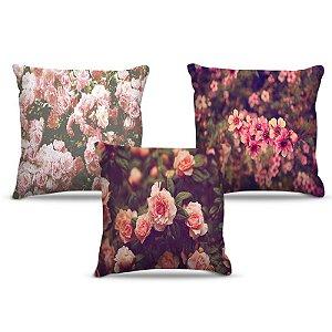Combo de almofadas 40 x 40 cm (3und.) Nerderia e Lojaria floral colorido