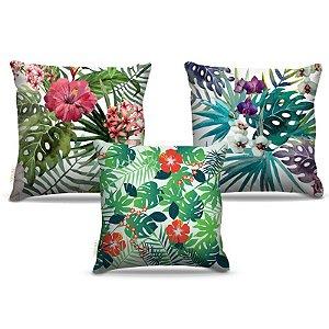 Combo de almofadas 40 x 40 cm (3und.) Nerderia e Lojaria flores colorido