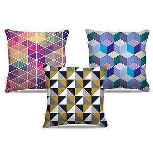 Combo de almofadas 40 x 40 cm (3und.) Nerderia e Lojaria geométrica 04 colorido