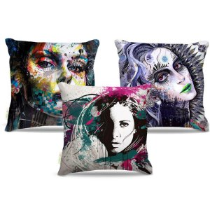 Combo de almofadas 40 x 40 cm (3und.) Nerderia e Lojaria mulher surreal colorido