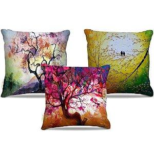 Combo de almofadas 40 x 40 cm (3und.) Nerderia e Lojaria natureza pintura colorido