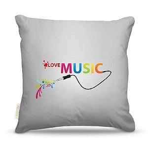 Almofada 40 x 40cm Nerderia e Lojaria love music colorido