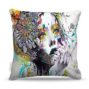 Almofada 40 x 40cm Nerderia e Lojaria mulher mão surreal colorido