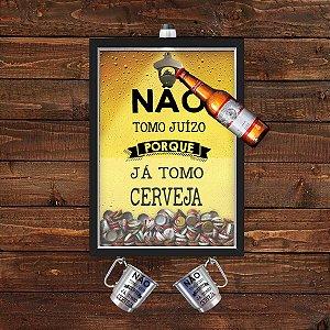 QUADRO CAIXA33x43cm COM ABRIDOR DE GARRAFAS E PORTA TAMPINHA CERVEJA com pendurador para as  2 canecas   Nerderia e Loja
