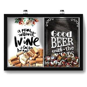 Quadro Porta Rolha Vinho E Tampinha Cerveja (2 Em 1) 33x43 cm  - Com LED Nerderia e Lojaria breakfast e Good beer black