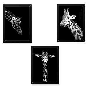 Quadro 33x43 (3und.) Nerderia Lojaria girafas preto